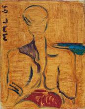 Maurice Léonce SAVIN (1905-1978) Portrait d'homme à la plage