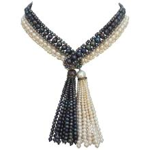 Black and White Pearl Lariate Long Necklace