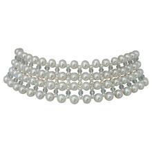 Marina J Woven Large/Small Pearl, Aquamarine, Choker Necklace by Marina J
