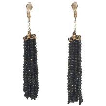 Black Spinel Tassel Earrings with 14 Karat Gold Findings by Marina J