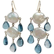 Double Pearl Earrings with Blue Topaz Drops by Marina J