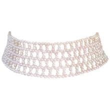 Wide Woven White Pearl Choker by Marina J