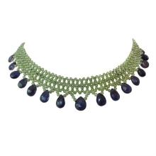 Woven Peridot, Iolite, Gold Necklace by Marina J