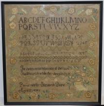 EARLY 19TH C SCHOOLGIRL SAMPLER, TRIPLE ALPHABET,