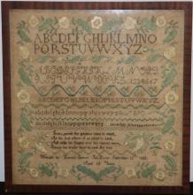 1825 SCHOOLGIRL SAMPLER WITH 6 ALPHABETS, VERSE