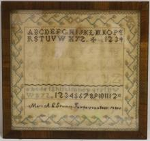 19TH C SCHOOLGIRL SAMPLER, ALPHABETS IN CENTER,