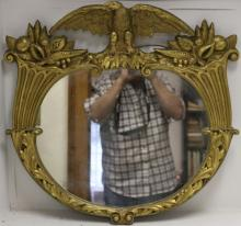 LATE 19TH C CARVED AND GILDED MIRROR WITH EAGLE