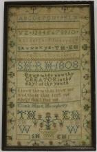 AMERICAN SCHOOL GIRL NEEDLEWORK SAMPLER DATED1808