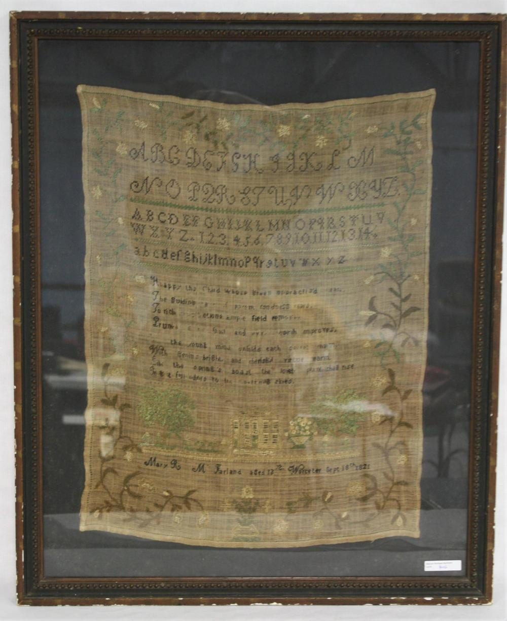 AMERICAN NEEDLEWORK SAMPLER, WROUGHT BY MARY R.