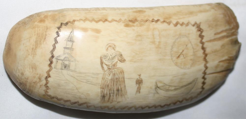 19TH CENTURY SCRIMSHAW WHALE'S TOOTH, DEPICTING A