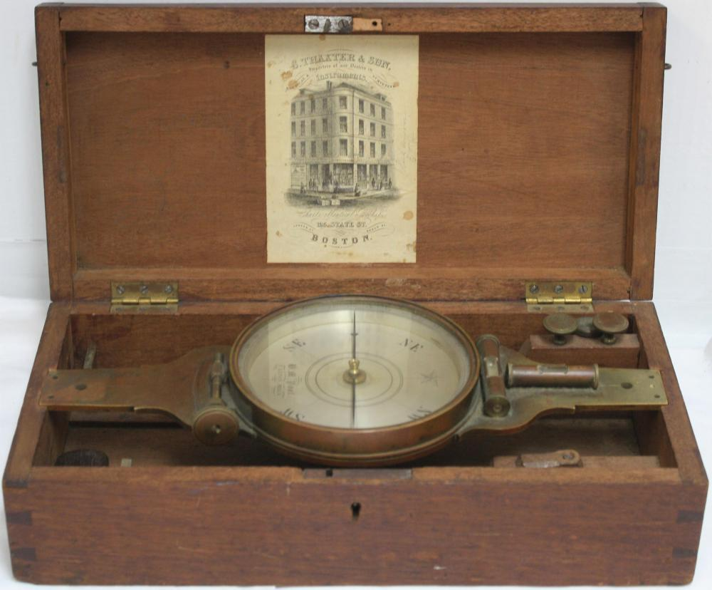 19TH CENTURY BOXED COMPASS. BRASS, WITH SILVERED