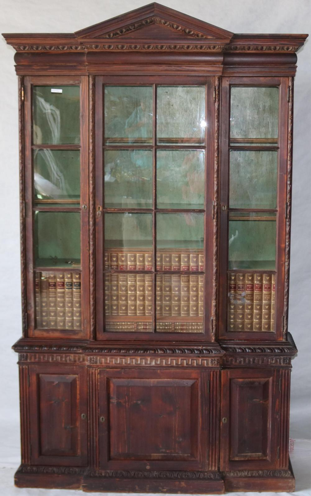 19TH CENTURY ENGLISH BREAKFRONT DEAL WOOD