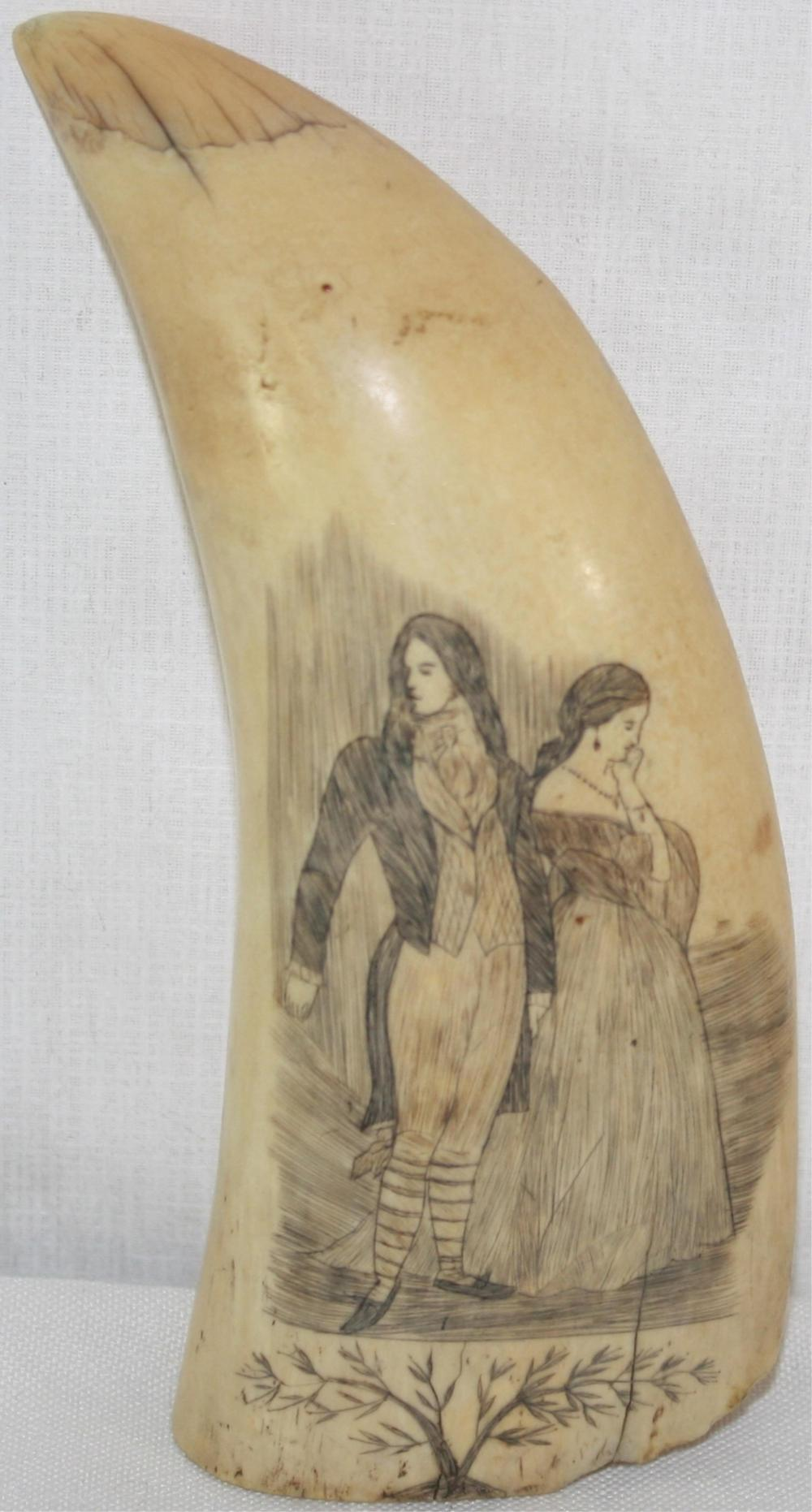 19TH CENTURY SCRIMSHAW WHALE'S TOOTH DEPICTING A