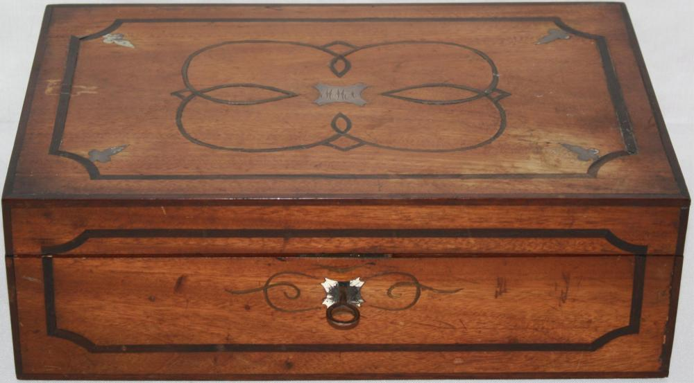 19TH CENTURY INLAID FITTED SEWING BOX. SILVER AND