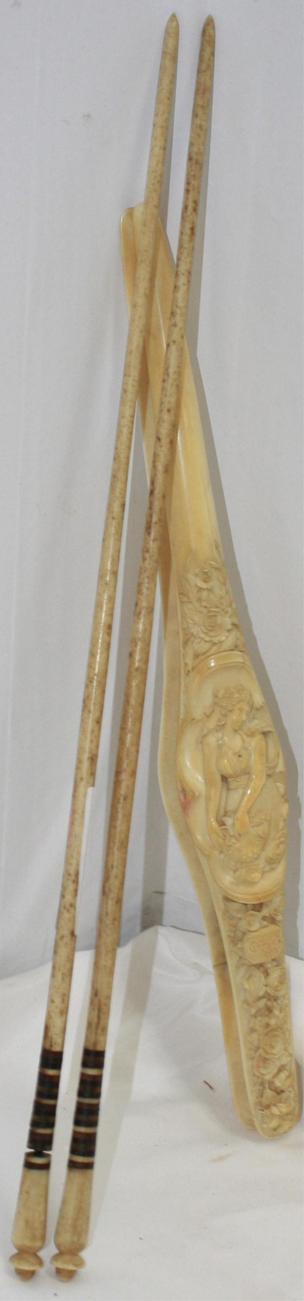 TWO 19TH CENTURY BONE ITEMS, TO INCLUDE: