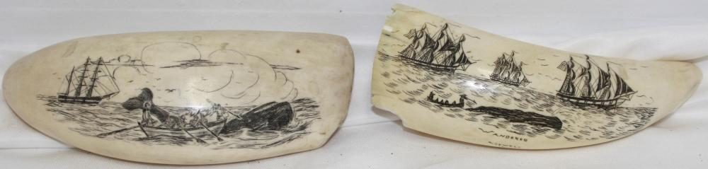 TWO EARLY 20TH CENTURY SCRIMSHAW WHALE'S TEETH.