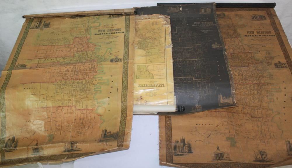 LOT OF FOUR 19TH C. CANVAS BACKED MAPS. TO