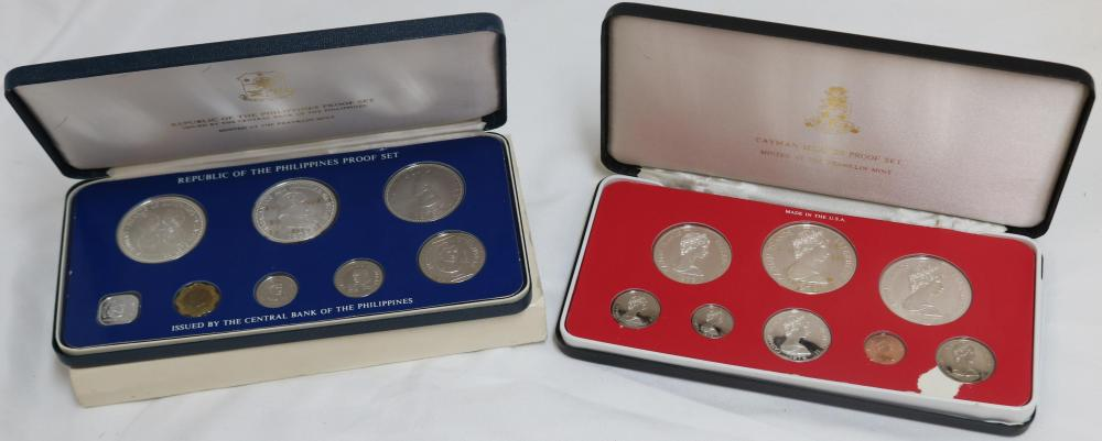 2 FRANKLIN MINT PROOF SETS, CAYMAN ISLAND WITH 4