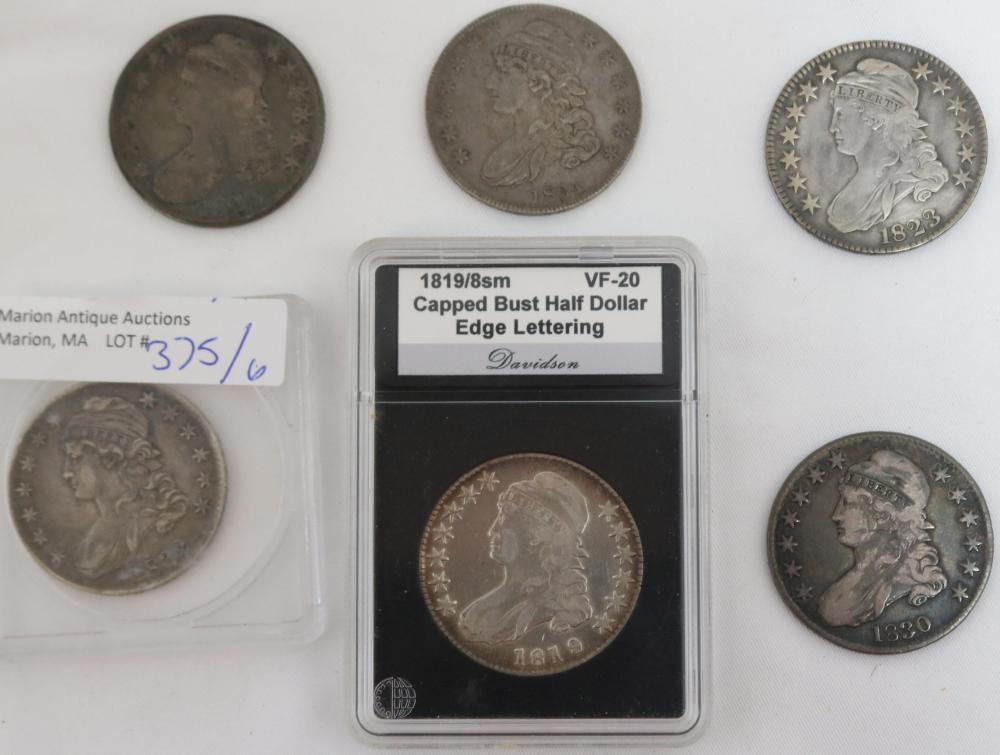 COLLECTION OF 6 CAPPED BUST HALF DOLLAR COINS,