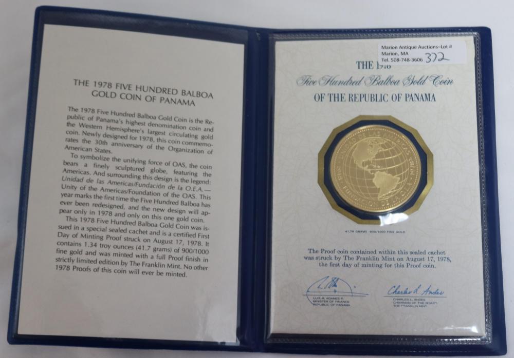 $500 1978 GOLD BALBOA PROOF COIN. 41.76 G.