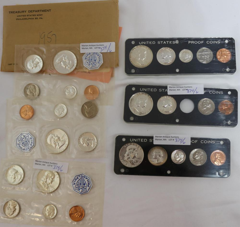 LOT OF 6 PROOF AND MINT SETS, 1953, 1957 AND 1958