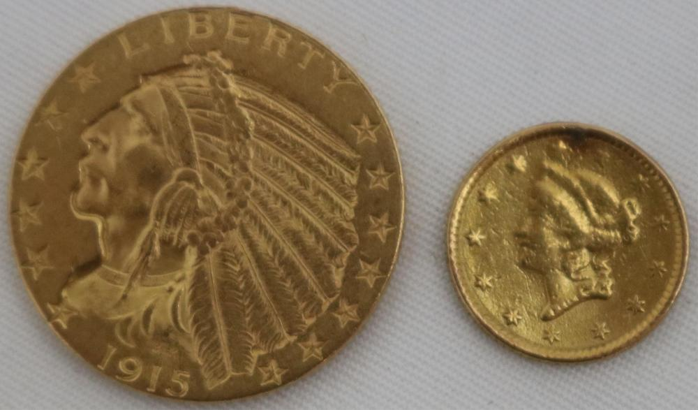 2 US GOLD COINS. 1915 GOLD INDIAN, EXCELLENT