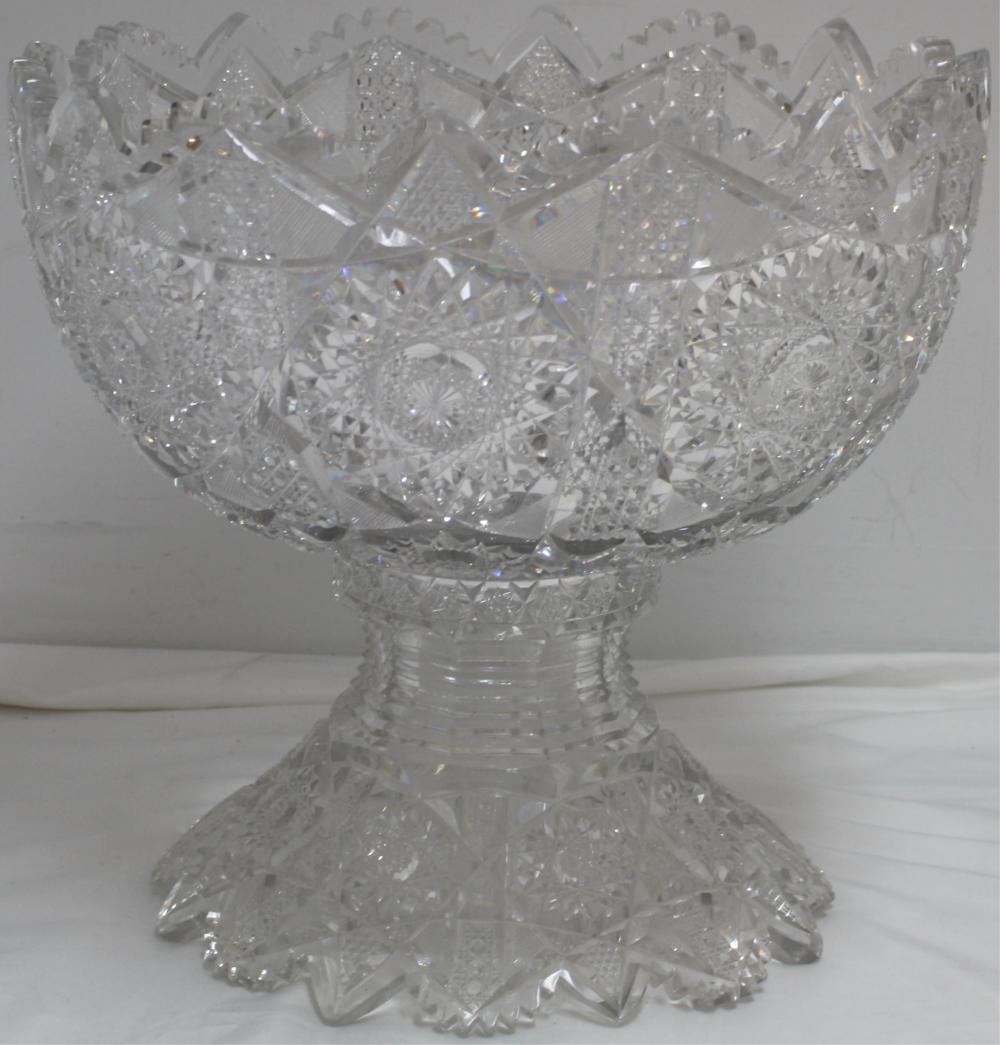 AMERICAN BRILLIANT CUT GLASS PUNCH BOWL, TWO