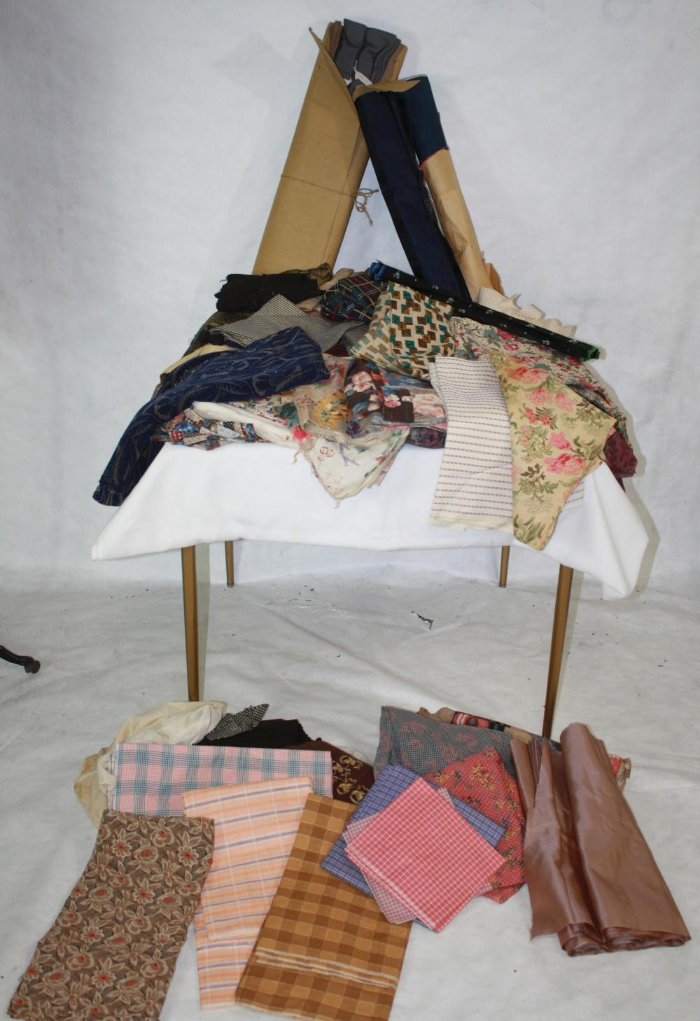 ANTIQUE DEADSTOCK 1880 - 1920 FABRIC LOT OF OVER