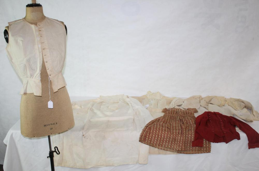 LOT OF 9 PIECES OF 19TH CENTURY CLOTHING, RANGING