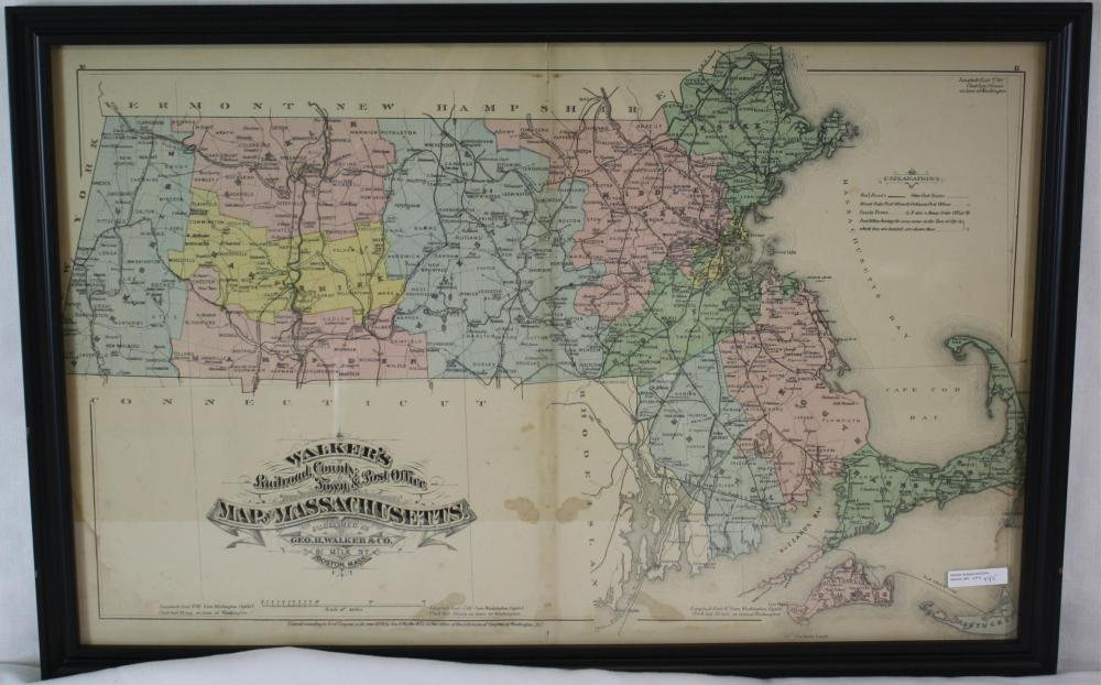1879 WALKERS COLORED MAP OF MASSACHUSETTS,