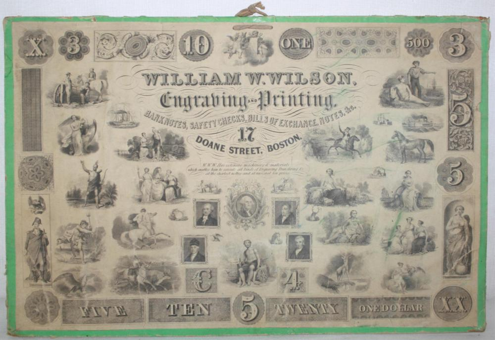 1830-1840 UNDATED BANK NOTE CO. PROOF SAMPLE