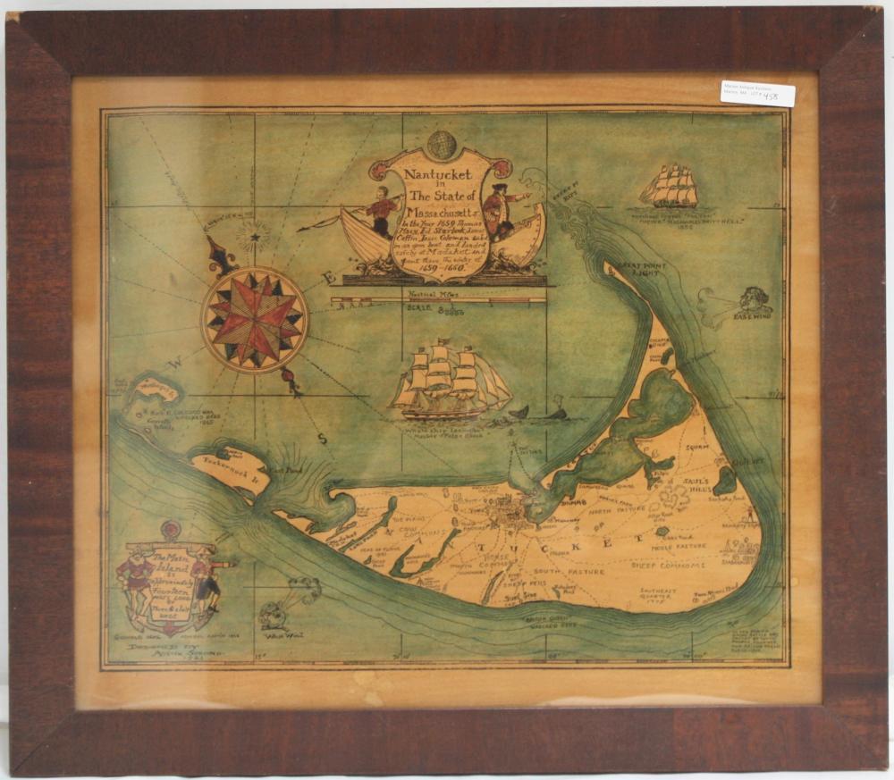 "1921 FRAMED MAP OF NANTUCKET ISLAND, ""AS IT"