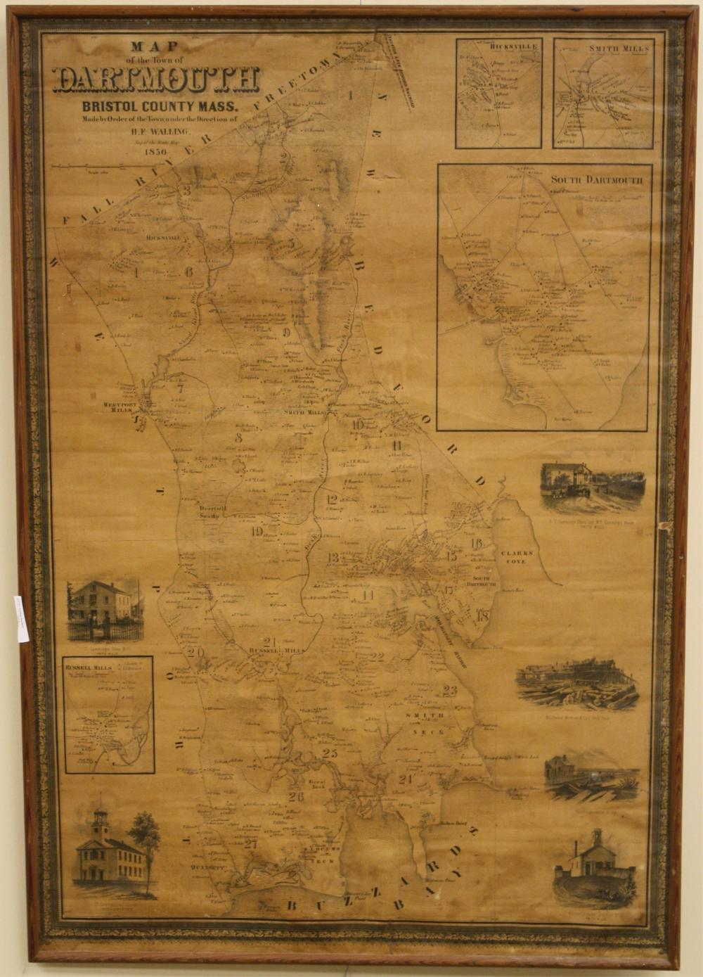 1856 MAP OF THE TOWN OF DARTMOUTH, MASSACHUSETTS,