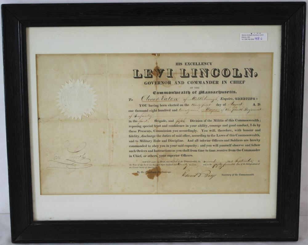 1829 COMMISSIONING DOCUMENT FROM LEVI LINCOLN,