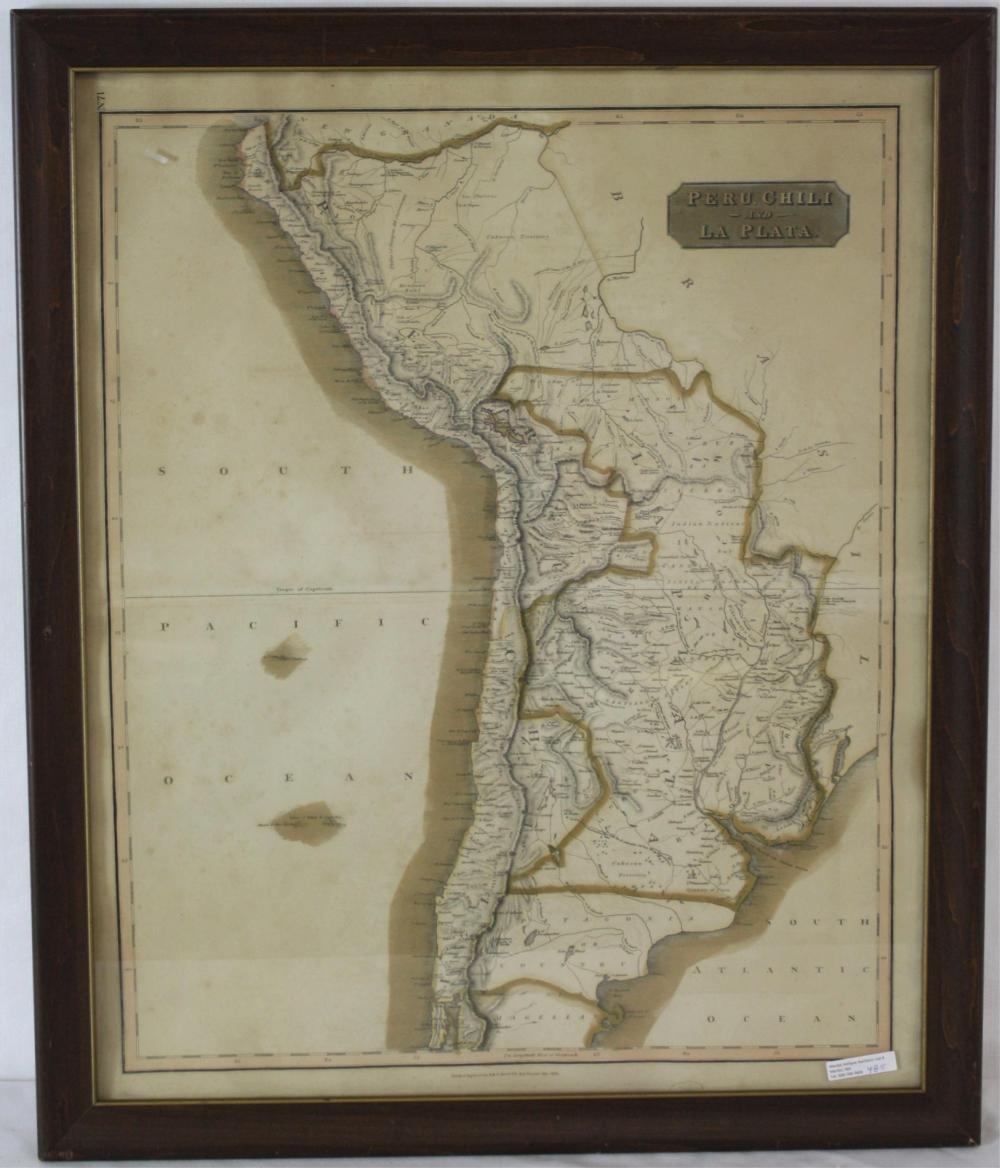 FRAMED AND GLAZED MAP OF PERU, CHILE, AND LA