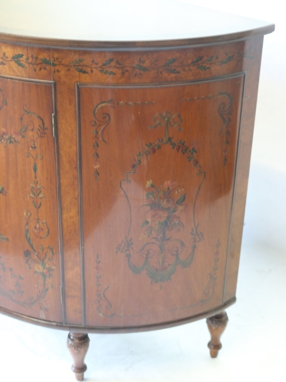 Pair Of Adams Style Commodes With Hand Painted