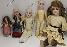 FIVE BISQUE HEAD DOLLS TO INCLUDE ONE S*H MARK,