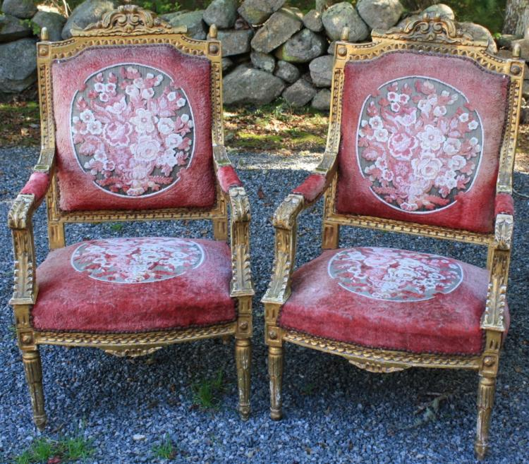 Pair Of 20th C Louis Xvi Style Arm Chairs Richly