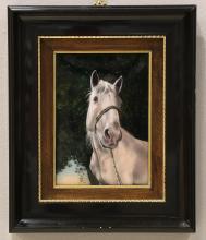 Faure, Fils De Crin Blanc, Limoge Enameled Horse Portrait Plaque