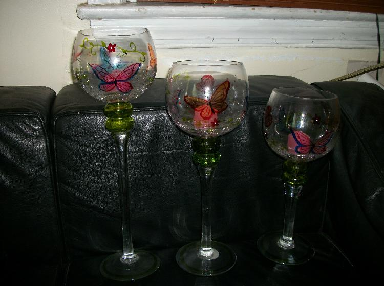 3 PC Hand Painted Glass Butterfly Candle Holders