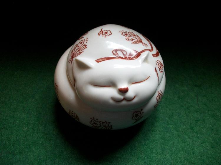 Porcelain Sleeping Cat Candle