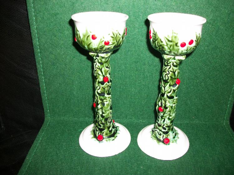 Set of 2 Holly Design Lefton Candle Holders
