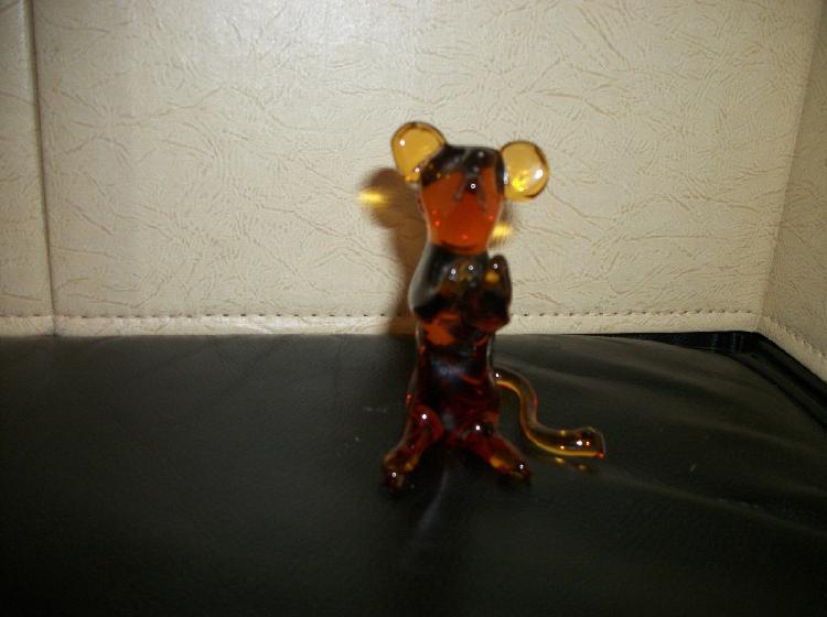 Pilgrim Hand Blown Amber Glass Mouse