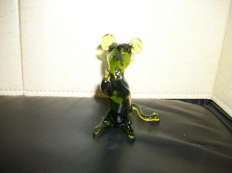 Pilgrim Hand Blown Green Glass Mouse