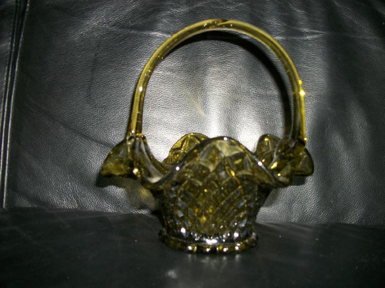 Vintage Green Depression Glass Basket