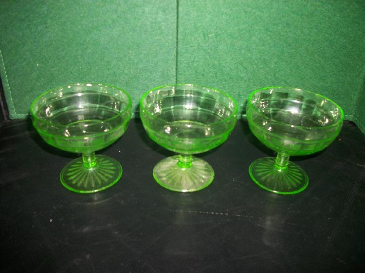 Set of 3 Vaseline Glass Block Optic Sherbet Glasses