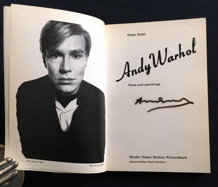 Andy Warhol: Films and Paintings. Signed by Andy Warhol in black marker