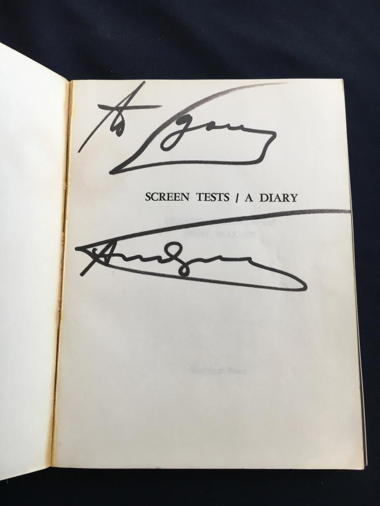 Andy Warhol. Screen Tests / A Diary. Signed and inscribed by Andy Warhol in black marker on the title page.