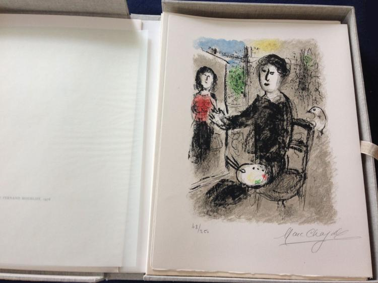 Marc Chagall. Les Ateliers de Chagall: with one original color lithograph signed and numbered in pencil by Chagall.