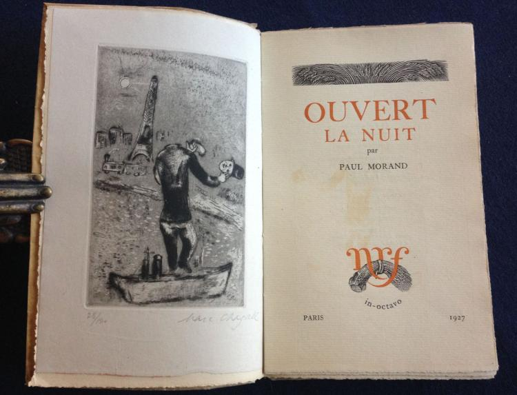 Marc Chagall. Ouvert La Nuit. With one etching signed and numbered in pencil by Chagall.